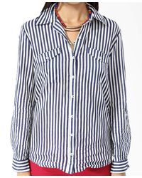 Forever 21 - Blue Vertical Striped Shirt - Lyst