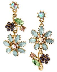 Betsey Johnson | Metallic Gold-tone Flower Mismatch Drop Earrings | Lyst