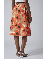TOPSHOP - Multicolor Floral Scuba Midi Skirt - Lyst