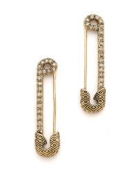 House of Harlow 1960 - Metallic Safety Pin Earrings with Sparkle - Lyst