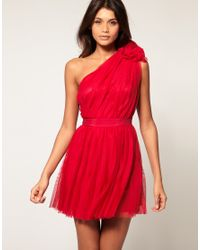 ASOS Collection - Red Asos Pleated Dress with One-shoulder - Lyst