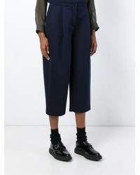 Erika Cavallini Semi Couture - Blue Cropped Neoprene Trousers - Lyst