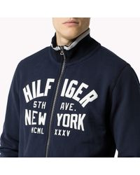 Tommy Hilfiger | Blue Cotton Blend Zip Through Sweater for Men | Lyst
