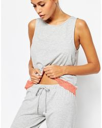 ASOS - Gray Petite Lace Trim Vest & Legging Pyjama Set - Lyst