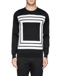 Alexander McQueen - Black Square Intarsia Wool Sweater for Men - Lyst