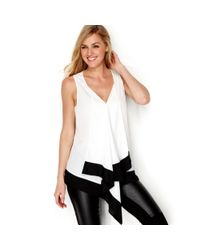 Kensie - White Draped Colorblocked Tank - Lyst