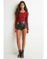 Forever 21 | Red Perforated Geo-patterned Top | Lyst