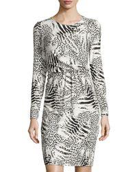Lafayette 148 New York - Black Gathered-waist Animal-print Dress - Lyst