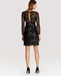 Karen Millen - Black Dress Faux Leather Sequin Mesh - Lyst