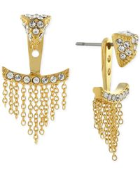 Vince Camuto | Metallic Gold-tone Pave Triangle And Chain Fringe Ear Jackets | Lyst