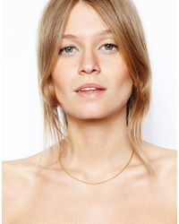 ASOS - Metallic Gold Plated Sterling Silver Fine Choker Necklace - Lyst