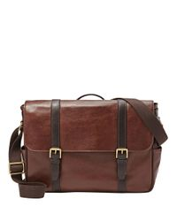 Fossil | Brown Leather Messenger Bag for Men | Lyst