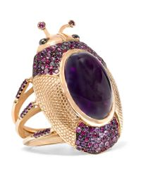 Daniela Villegas | Pink 18-karat Rose Gold Amethyst, Ruby And Sapphire Ring | Lyst