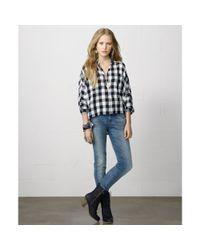 Denim & Supply Ralph Lauren - Blue Dolmansleeve Cropped Plaid Shirt - Lyst