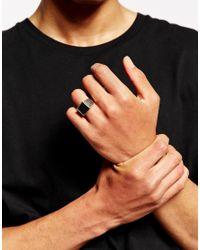 ASOS - Metallic Signet Ring with Side Detail for Men - Lyst
