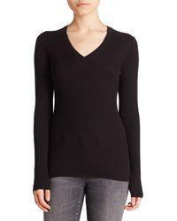 VINCE | Black Skinny Ribbed V-neck Sweater | Lyst