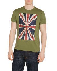 Ben Sherman | Green Union Optic Print Crew Neck Regular Fit T-shirt for Men | Lyst