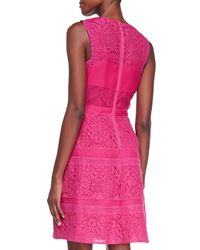 Rebecca Taylor - Purple Mixed-Lace Sleeveless Cocktail Dress - Lyst