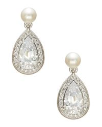 Nadri | White Faux Pearl And Pave Drop Earrings | Lyst