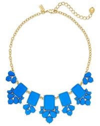 Kate Spade | 12k Gold-plated Blue Stone Frontal Necklace | Lyst