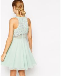 ASOS - Green Crop Top Skater Dress With Sequin Droplets - Lyst