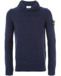 Stone Island - Blue Ribbed Shawl Collar Sweater for Men - Lyst