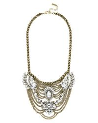 BaubleBar | Metallic 'Crystal Fontainebleau' Bib Necklace - Antique Gold/ Clear | Lyst