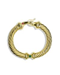 David Yurman - Metallic Cable Buckle Bracelet with Diamonds in Gold - Lyst