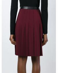 Cedric Charlier - Red Pleated Midi Skirt - Lyst