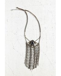 Urban Outfitters - Black Sabrina Stone + Fringe Statement Necklace - Lyst