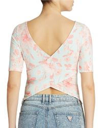 Guess | Pink Floral Crisscrossed Back Top | Lyst