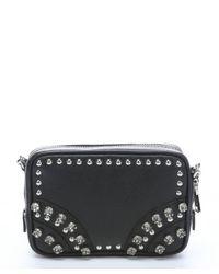 Prada - Black Leather Embellished Mini Convertible Crossbody Bag - Lyst