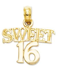 Macy's | Metallic 14k Gold Charm, Sweet 16 Charm | Lyst