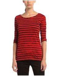 BOSS Orange | Red T-shirt 'tastripe' In Cotton Blend | Lyst