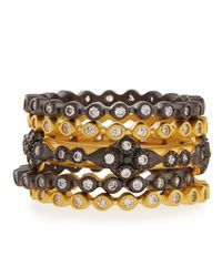 Freida Rothman | Metallic Set Of Five Cz Stackable Rings | Lyst