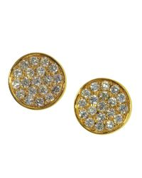 Effy | Metallic Diamond And 14k Yellow Gold Stud Earrings | Lyst