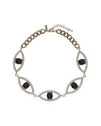 TOPSHOP - Blue Rhinestone Eye Collar - Lyst