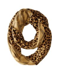 MICHAEL Michael Kors - Natural Double Printed Raschel Reversible Large Infinity Scarf - Lyst