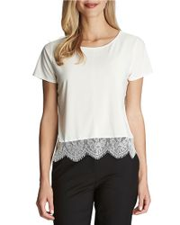 Cece by Cynthia Steffe   Natural Short Sleeve Lace Hem Top   Lyst