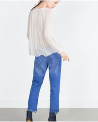 Zara | White Embroidered Shirt | Lyst