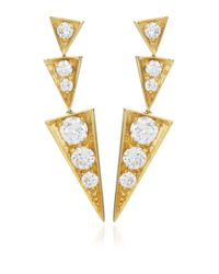 Janis Savitt | Metallic Geometric Diamond Earrings | Lyst