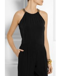 MICHAEL Michael Kors - Black Chain-Embellished Stretch-Jersey Top - Lyst