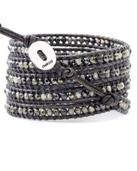 Chan Luu | Black Pyrite And Hematite Mix Wrap Bracelet On Natural Grey Leather | Lyst