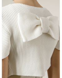 RED Valentino - White Ribbed Shrug - Lyst