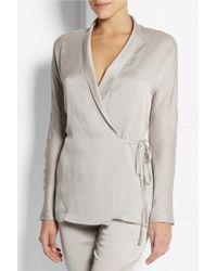 Carine Gilson | Gray Silk-Satin Robe | Lyst