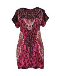 Just Cavalli - Red Cutout Silk-satin Mini Dress - Lyst