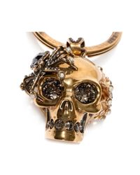Alexander McQueen - Metallic Spider Skull Ring for Men - Lyst