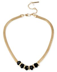 Kenneth Cole | Metallic Gold-tone Jet Bead Frontal Necklace | Lyst