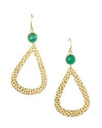 Wendy Mink - Green Onyx And Pebbled Gold Teardrop Earrings - Lyst
