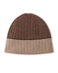 Sofia Cashmere - Brown Cashmere Knit Reversible Hat - Lyst